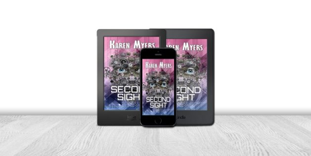 Display of available formats for Second Sight, a science fiction short story. Written by Karen Myers. Published by Perkunas Press (PerkunasPress.com).