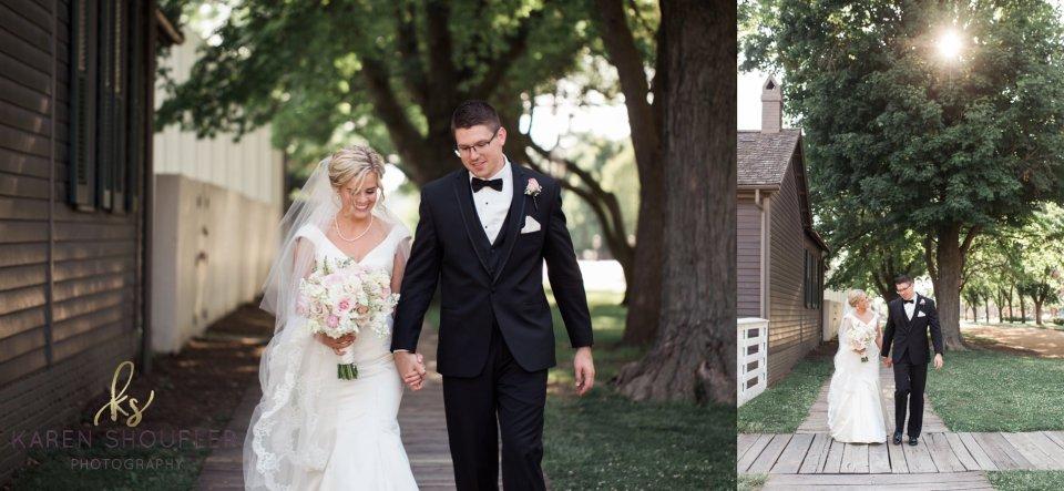 Bride & Groom at Lincoln Home Springfield Illinois Wedding by Karen Shoufler