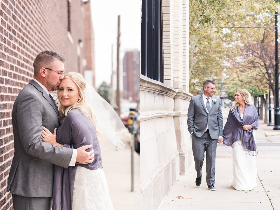 Downtown Springfield Fall Wedding Couple