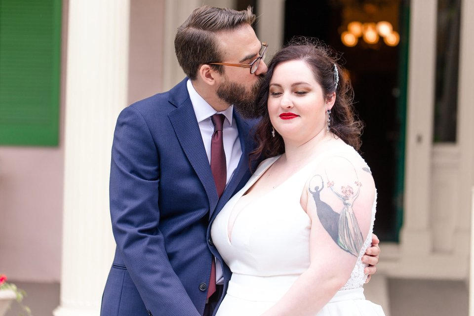 Tattooed Bride and Bearded Groom at Edwards Place Wedding in Springfield by Karen Shoufler