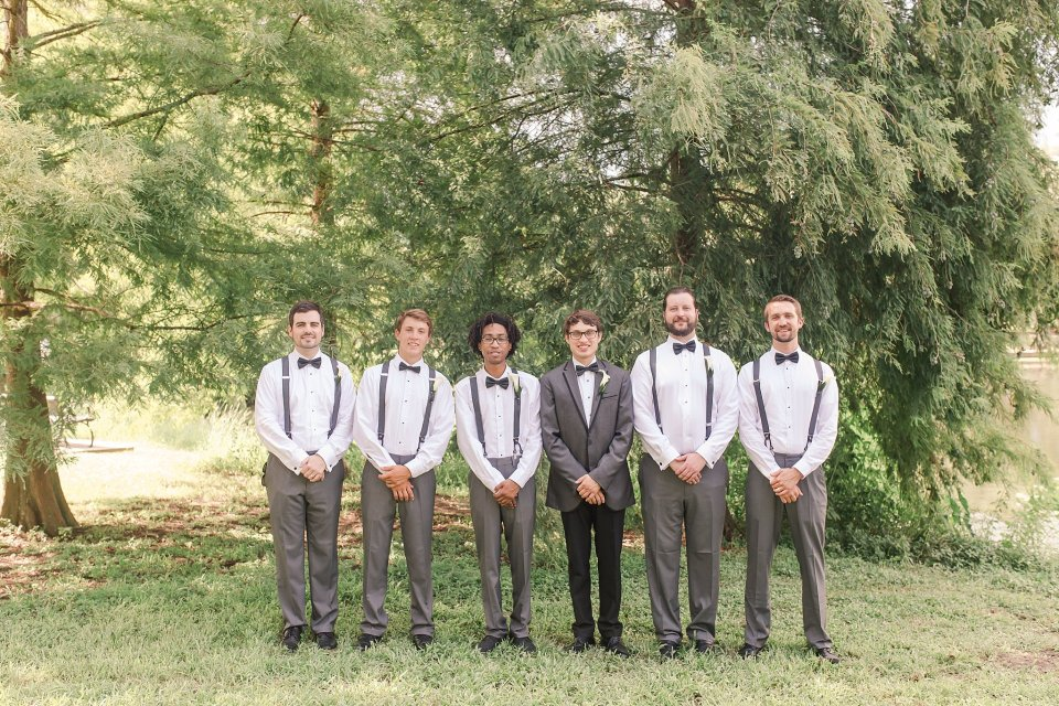 Groom and Groomsmen in Audubon Park in New Orleans by Karen Shoufler