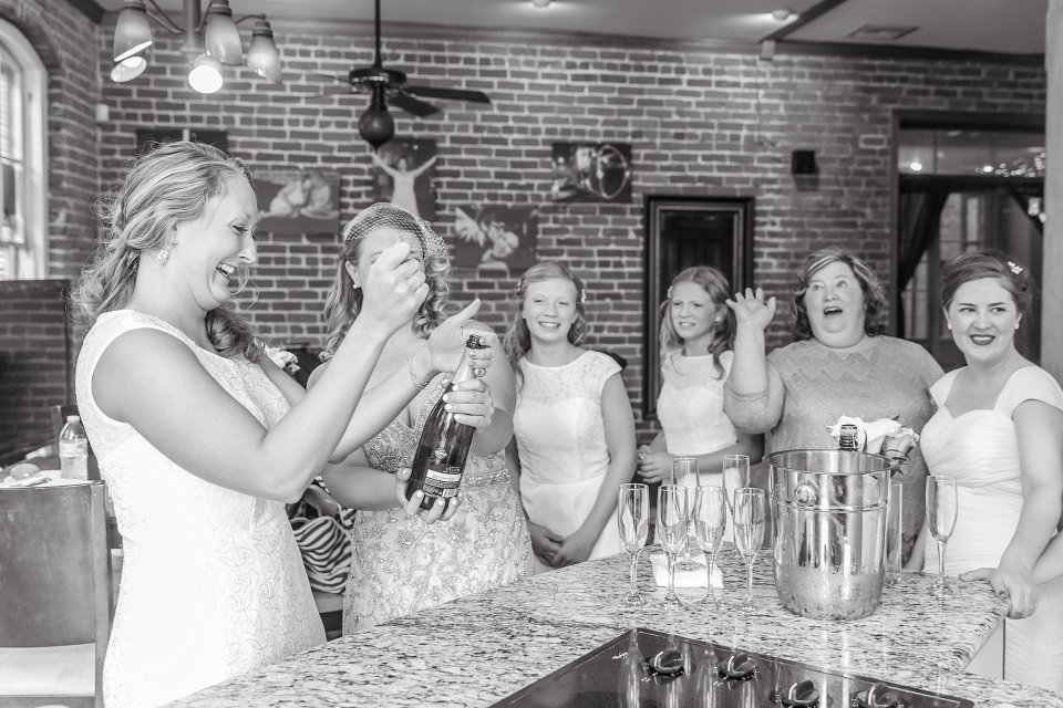 Bride and Bridesmaids getting ready at Rosy's Jazz Hall Wedding New Orleans by Karen Shoufler