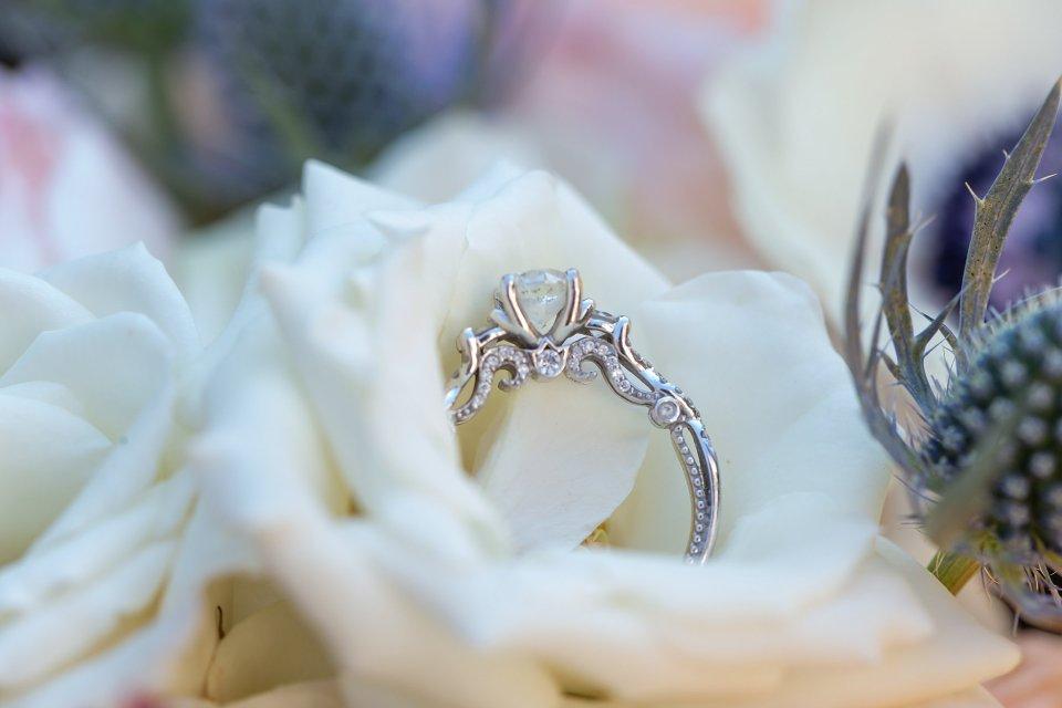 Wedding ring shot in flowers