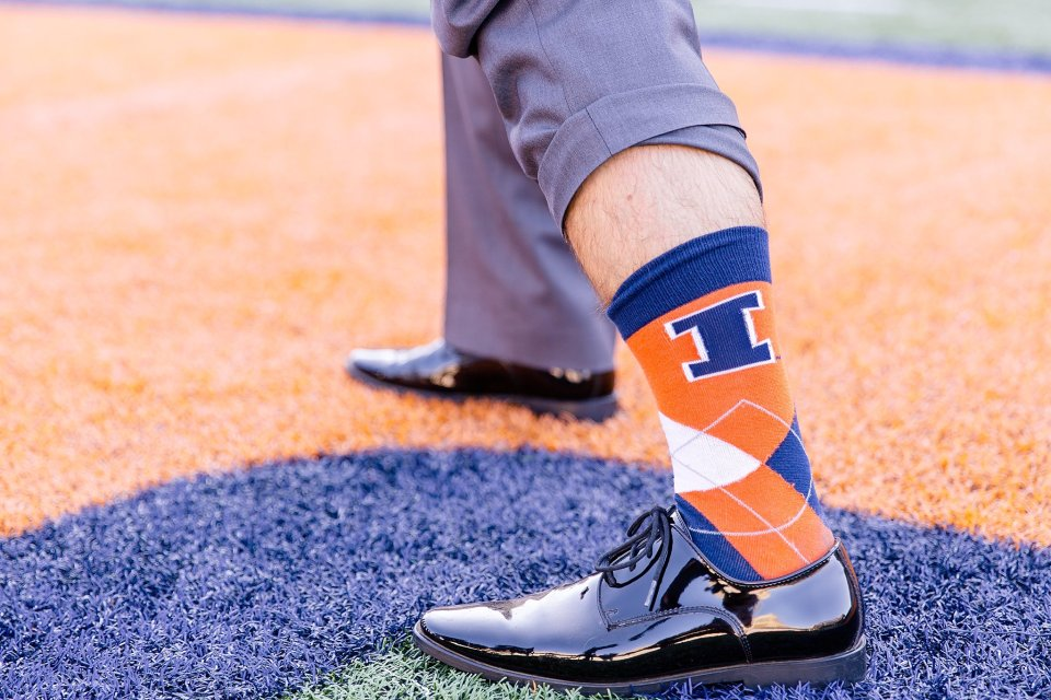 Orange and blue fall wedding at University of Illinois Memorial Stadium by Karen Shoufler Photography