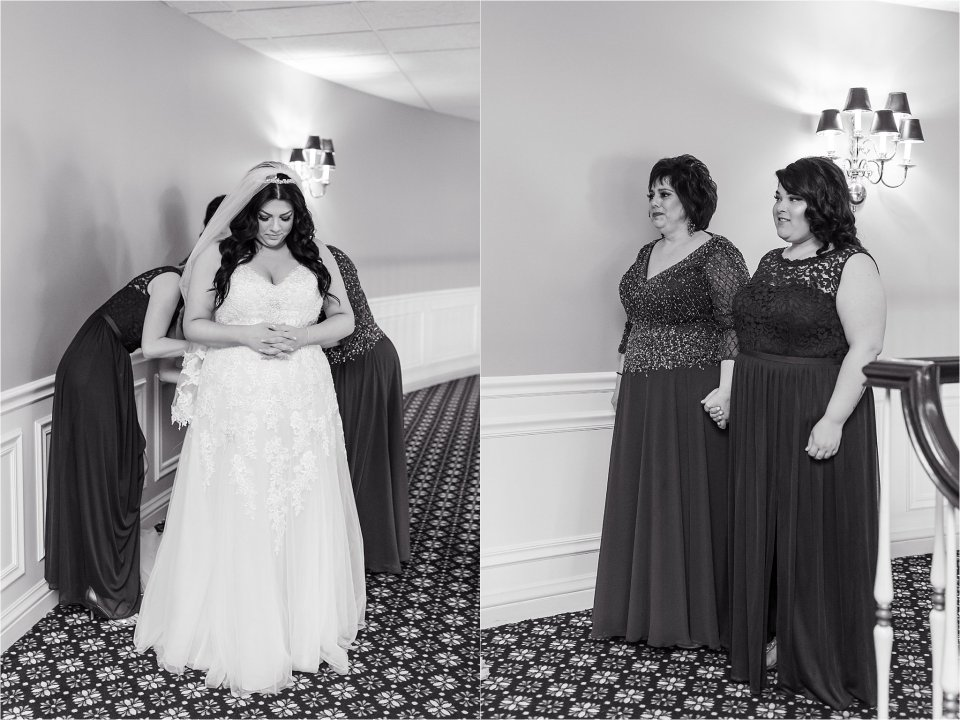 Bride reveal to bridesmaids at Tuscany Falls in Tinley Park by Karen Shoufler Photography