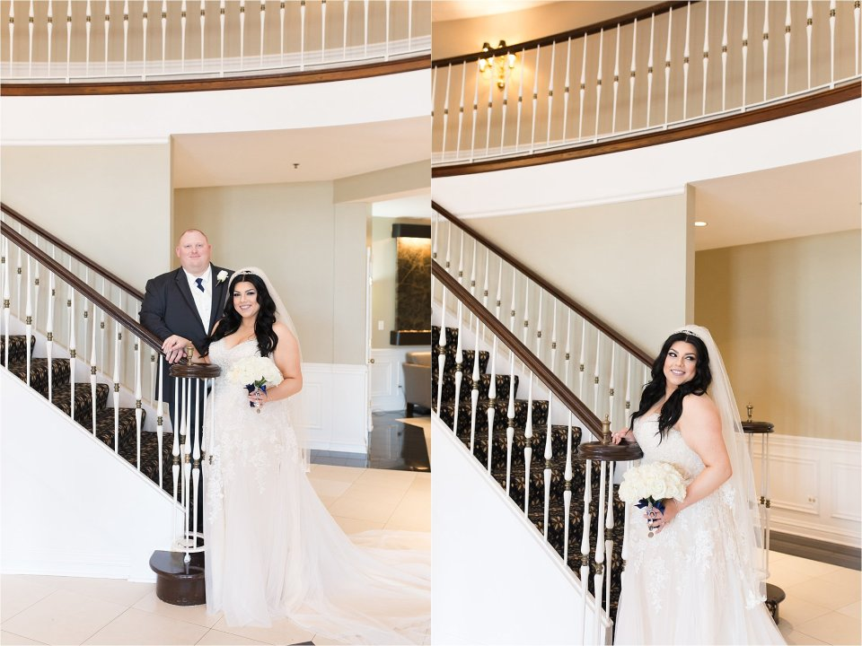 Groom and bride at Tuscany Falls in Tinley Park by Karen Shoufler Photography
