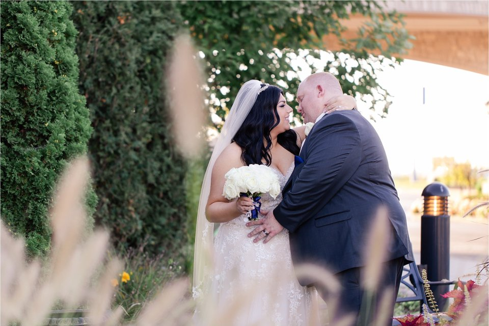 Bride and Groom Portraits at Tuscany Falls in Tinley Park by Karen Shoufler Photography