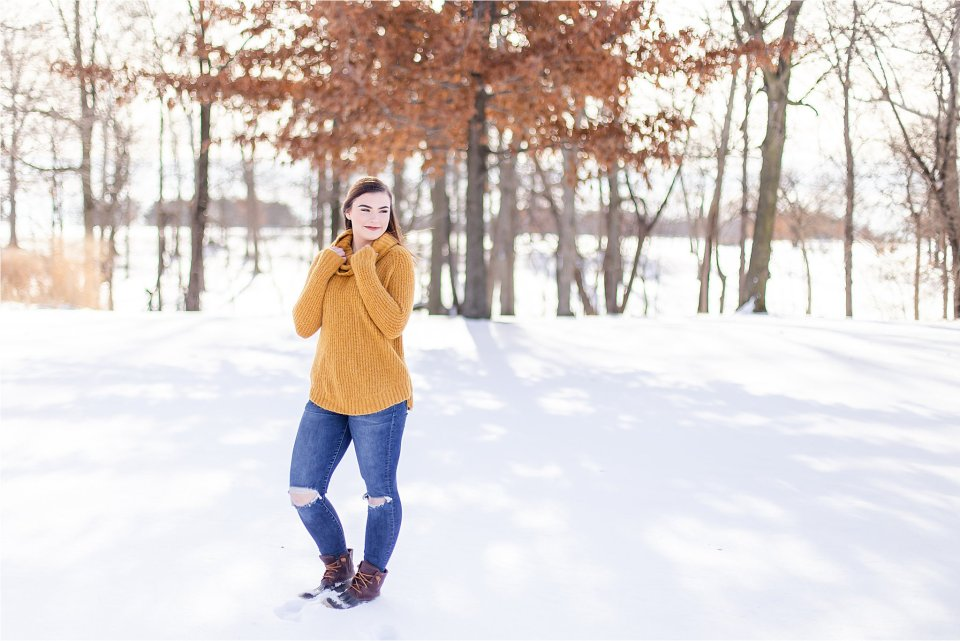 Central Illinois Senior Girl in the Snow