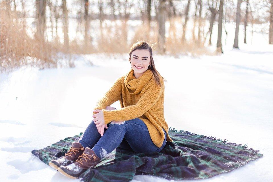 Senior Girl in the Snow on Blanket