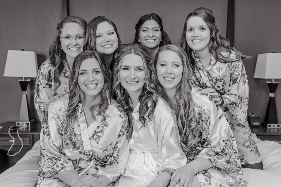 Bridesmaids in matching robe in Springfield, Illinois
