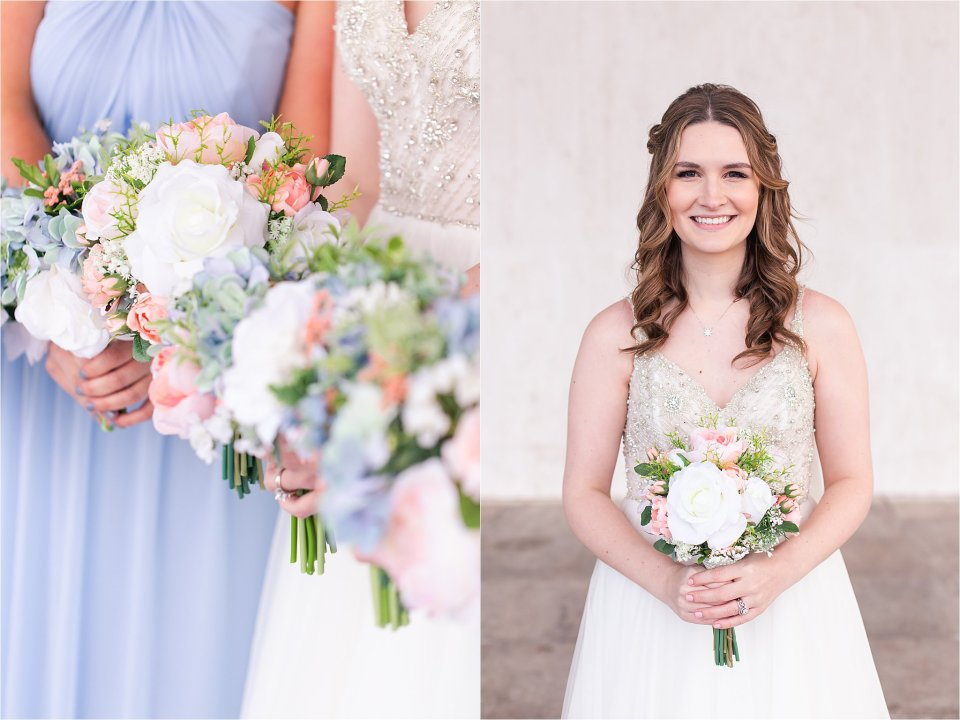 Bride and bridesmaids portraits in downtown Springfield, Illinois