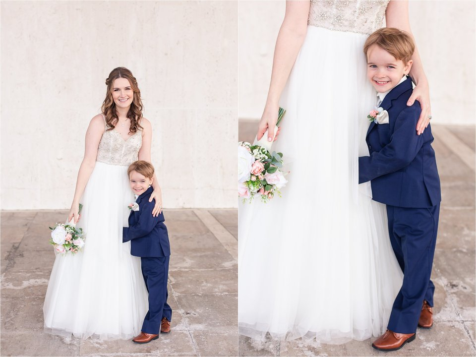 Bride and ring bearer portraits in downtown Springfield, Illinois