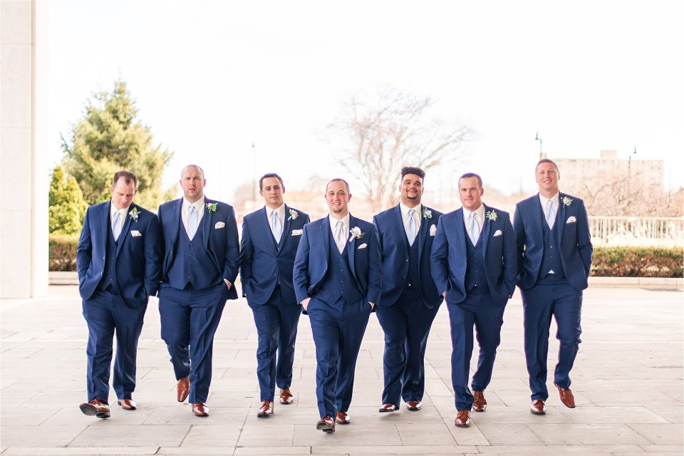 Groom and groomsmen portraits in downtown Springfield, Illinois