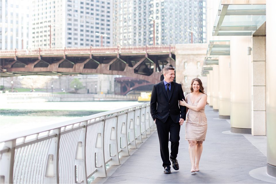 Wrigley Building Downtown Chicago Engagement Photos on Michigan Avenue by Karen Shoufler Photography