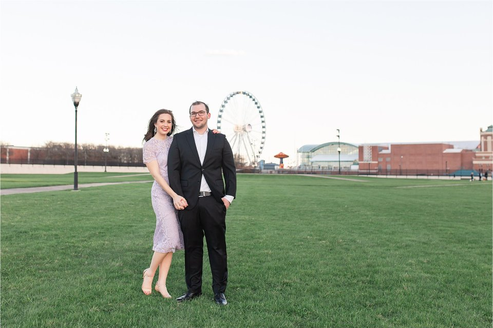 Classy Spring Engagement Session at Milton Lee Olive Park in Chicago with skyline by Karen Shoufler Photography