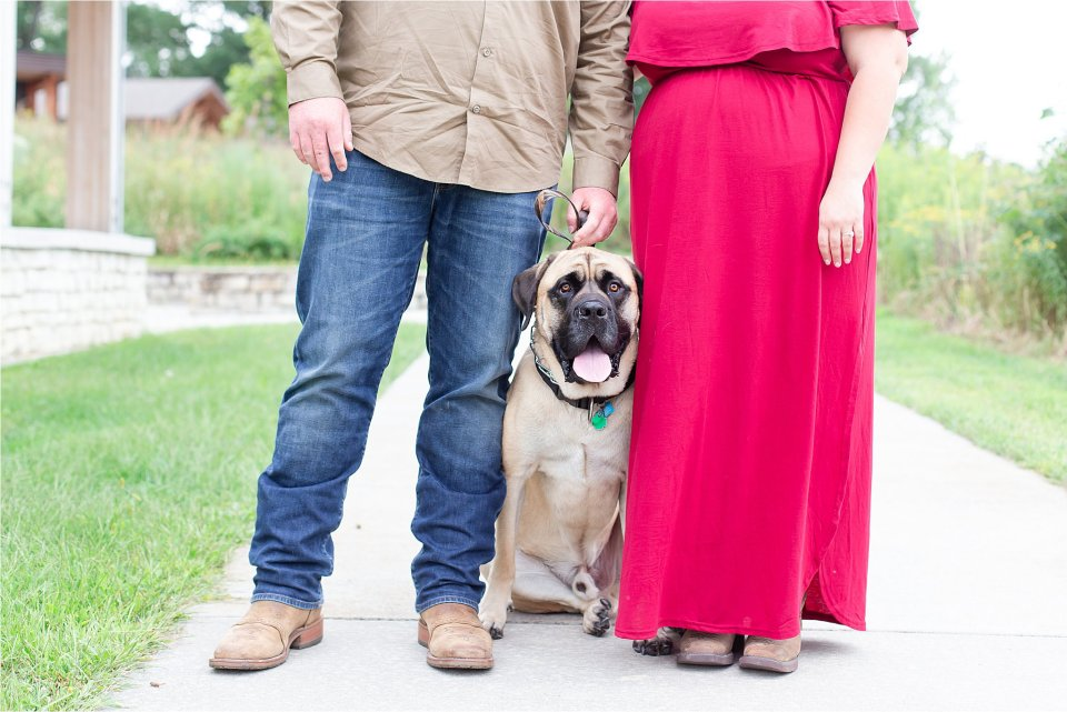 Couple in front of water with dog at Four Rivers in Channahon, Illinois   Karen Shoufler Photography