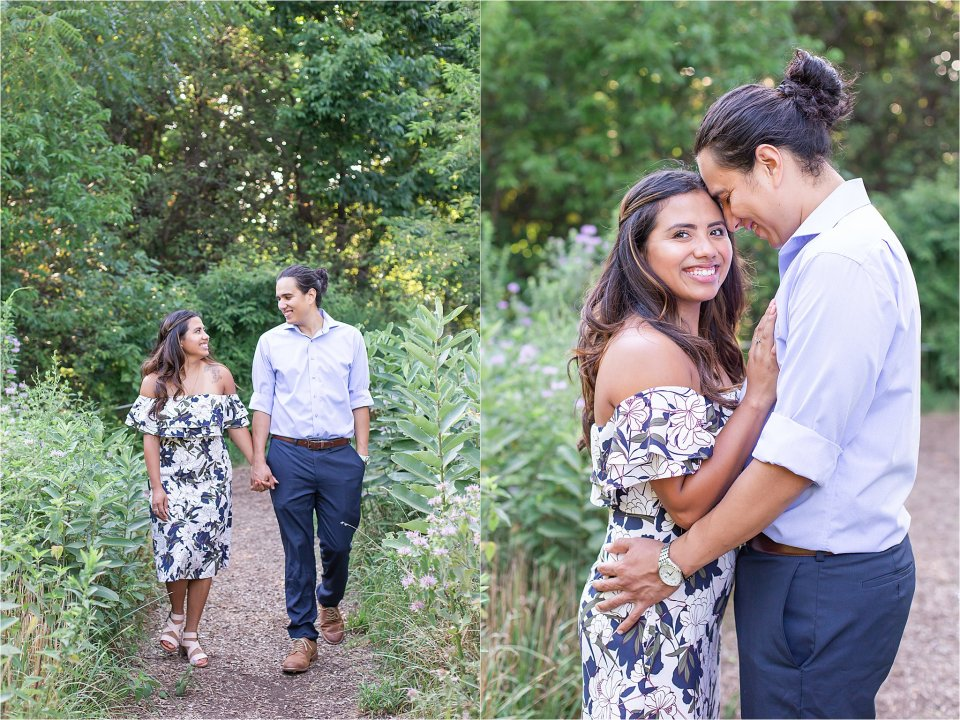 Sweet, romantic walking photo of engagement session at Montrose Point Bird Sanctuary in Chicago by Karen Shoufler Photography