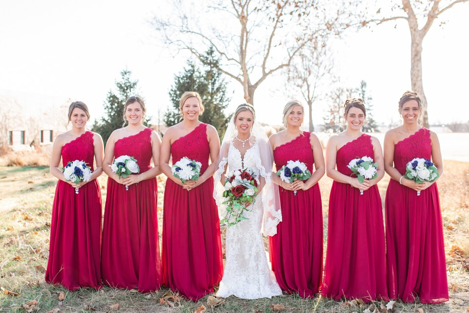 Bride and bridesmaid portraits for winter wedding at iHotel in Champaign, Illinois