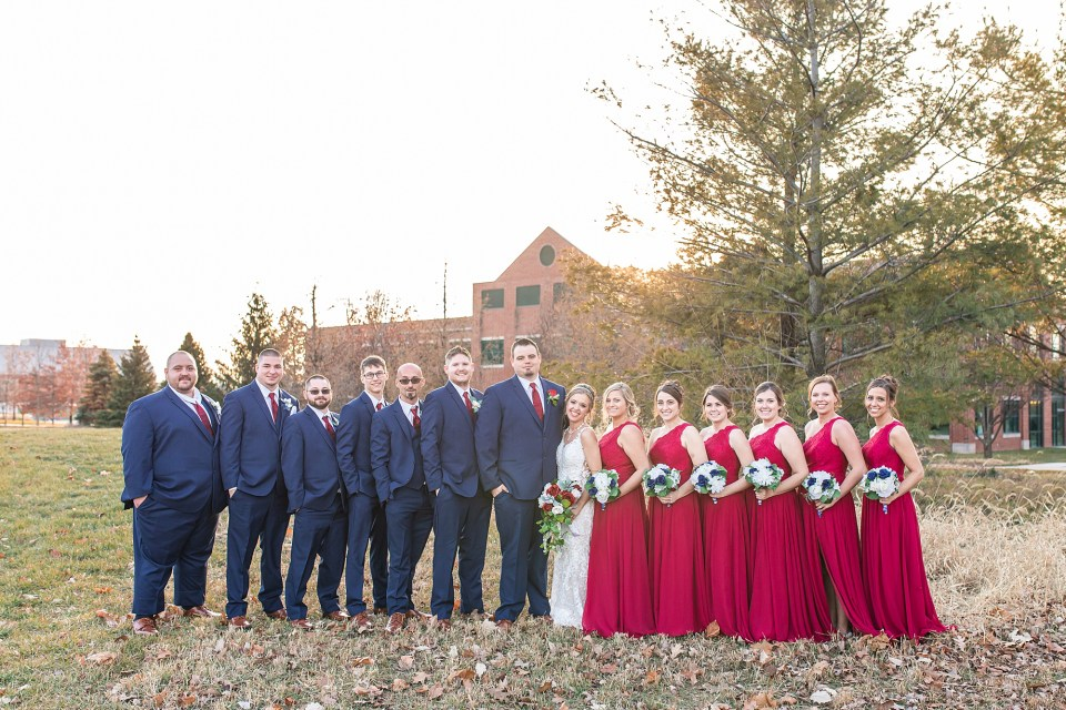 Winter wedding party portraits in Champaign, Illinois