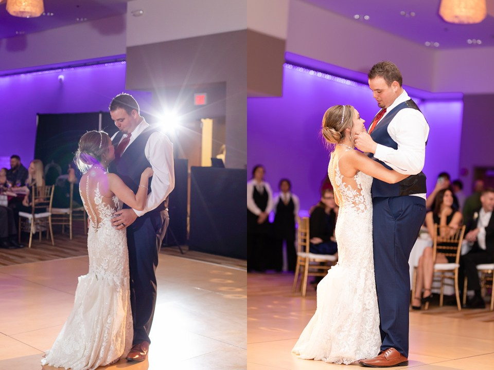 Bride and groom first dance at iHotel in Champaign, Illinois