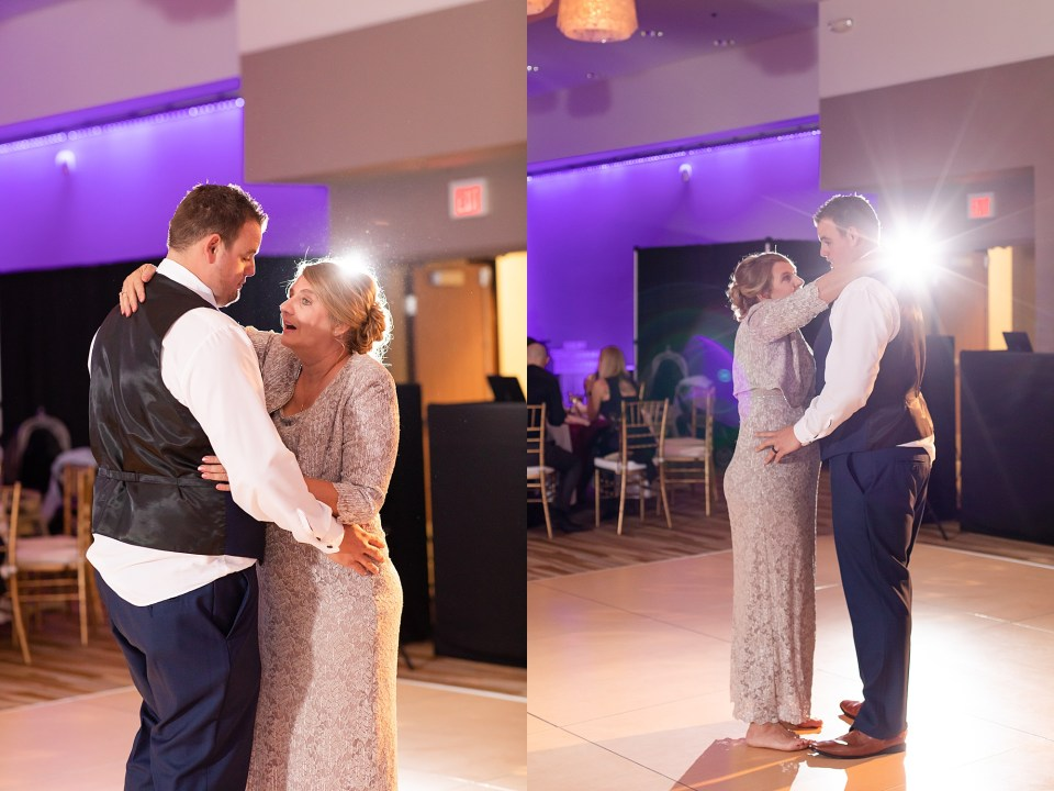 Mother son first dance at winter wedding at iHotel in Champaign, Illinois