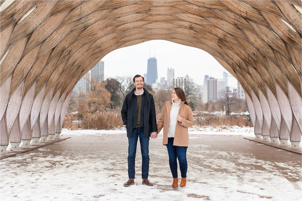 Lincoln Park Nature Boardwalk engagement photos in the snow