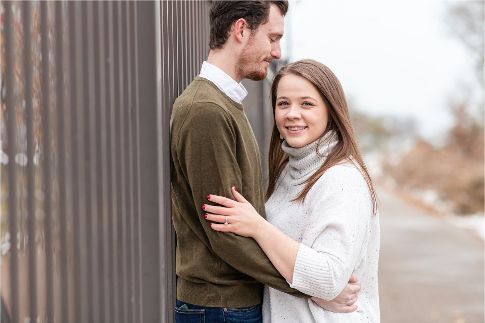 Downtown Chicago winter snowy engagement photos