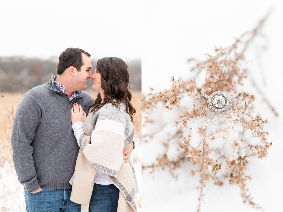 Snowy winter engagement photography at Busse Woods in Schaumburg