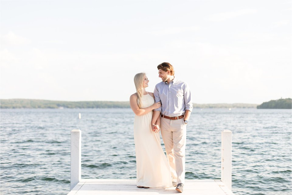 Summer engagement session on dock at Lake Geneva Wisconsin