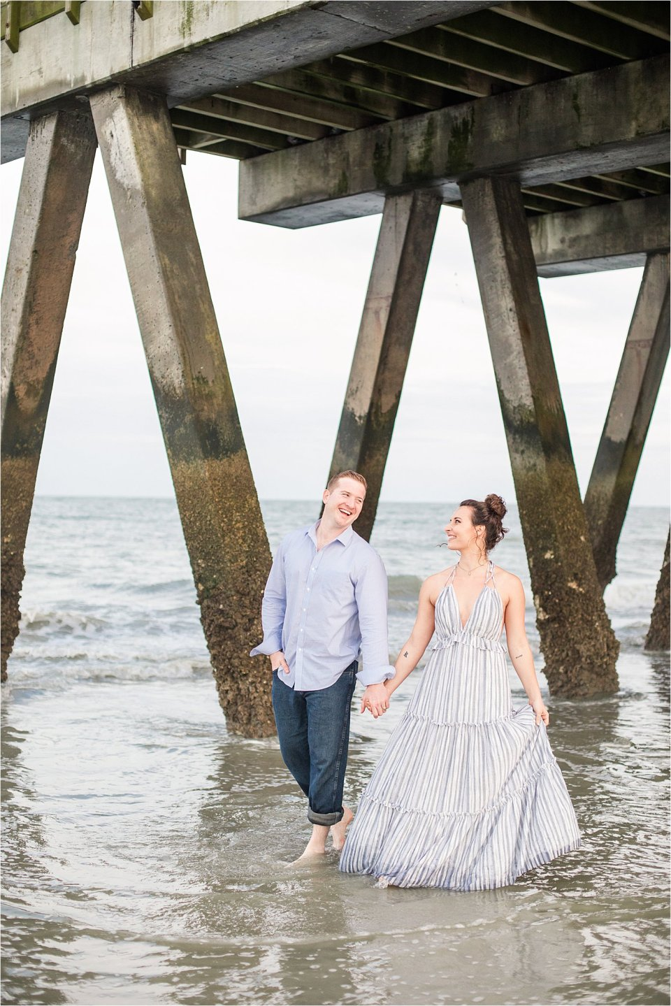 Tybee island engagement photography by pier at sunset