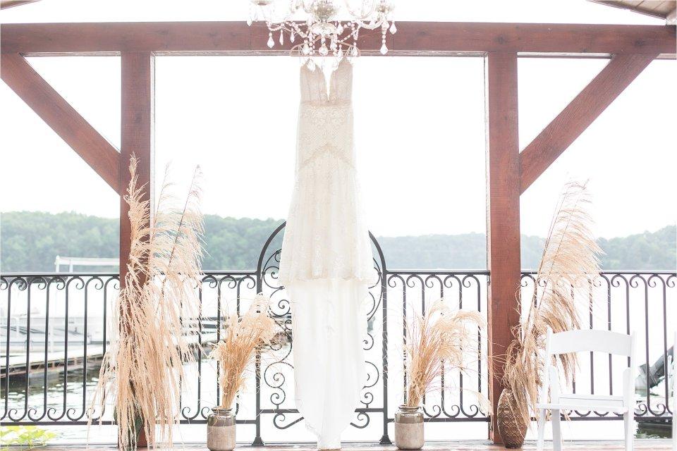 bride dress hanging outside at Egyptian Hills Resort wedding