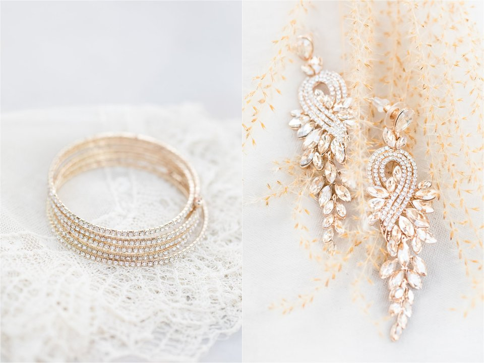 gold and ivory bridal details