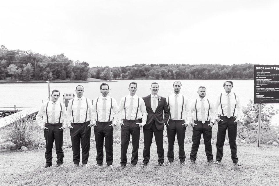 groom and groomsmen at Lake of Egypt wedding