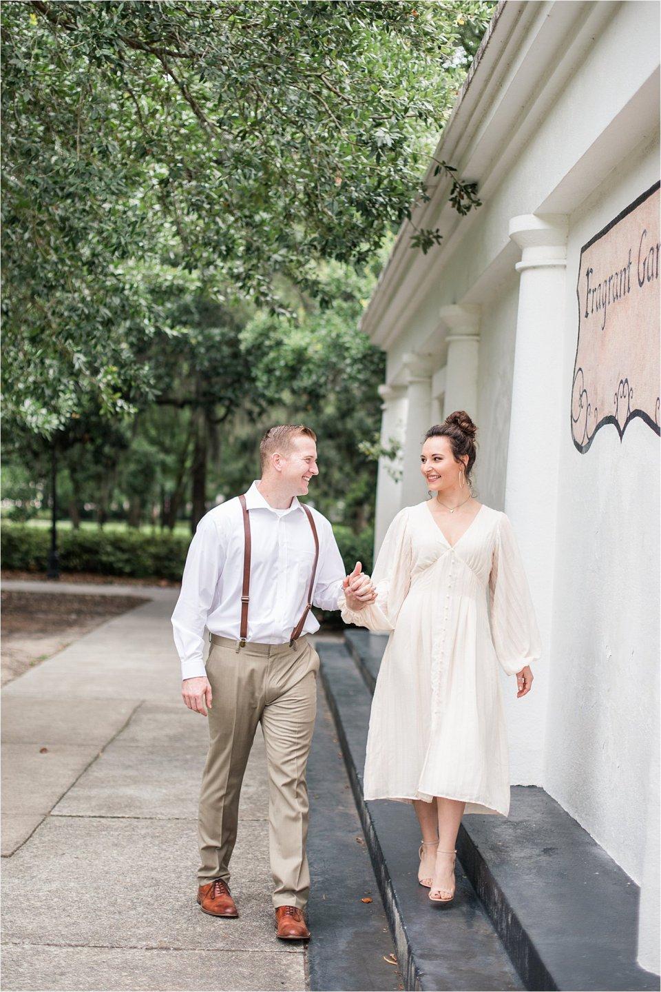 Couple in Forsyth Park in Savannah, GA by destination photographer Karen Shoufler