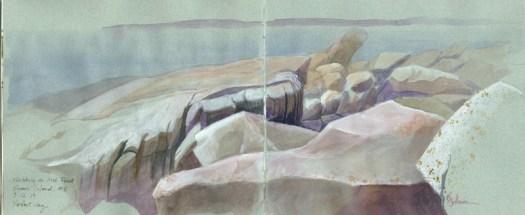 Irish Point rocks sketch © 2013 Karen A Johnson