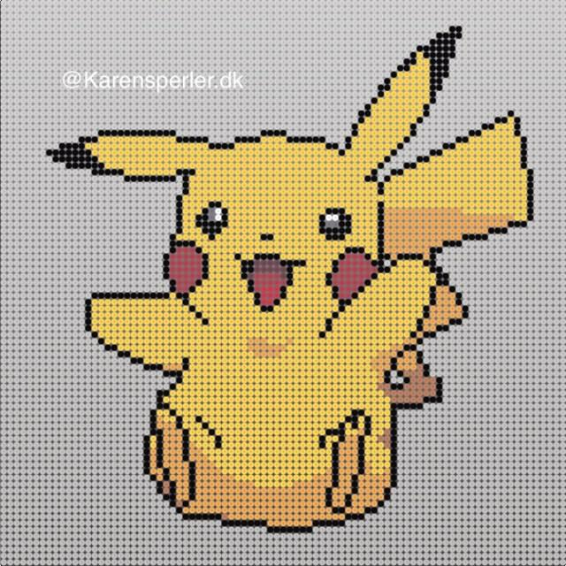 Pikachu Hama perler mønster