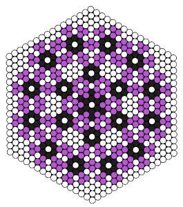 Mønster til blomstercoaster i stribede perler