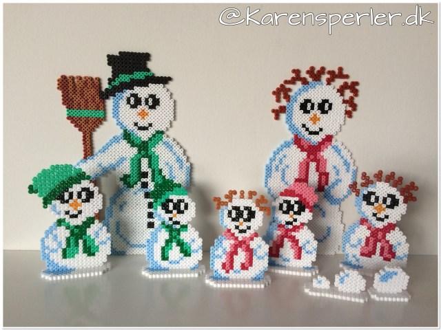 Familien Sne Snemand i hama perler