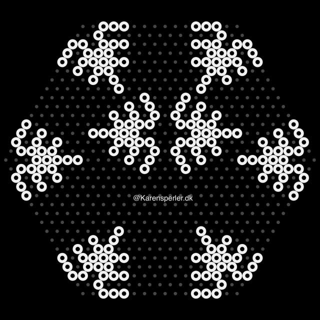 Mønster til 3D snefnug i perler
