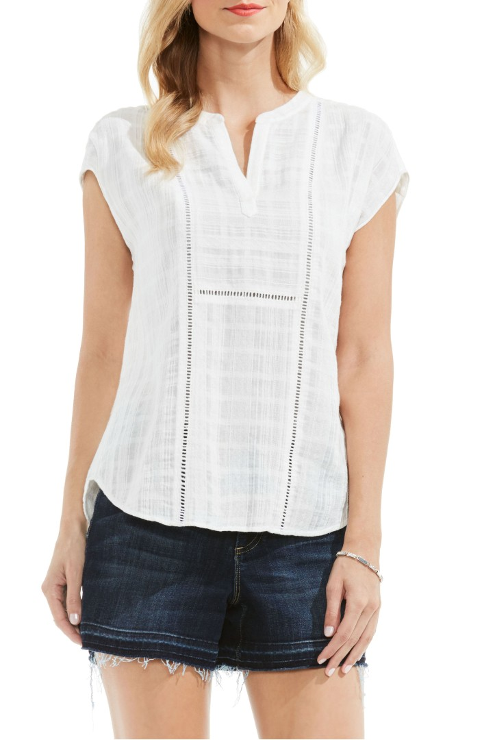 Two by Vince Camuto Plaid Gauze Split Neck Blouse