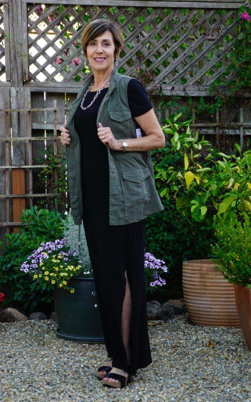 Black summer dress with vest