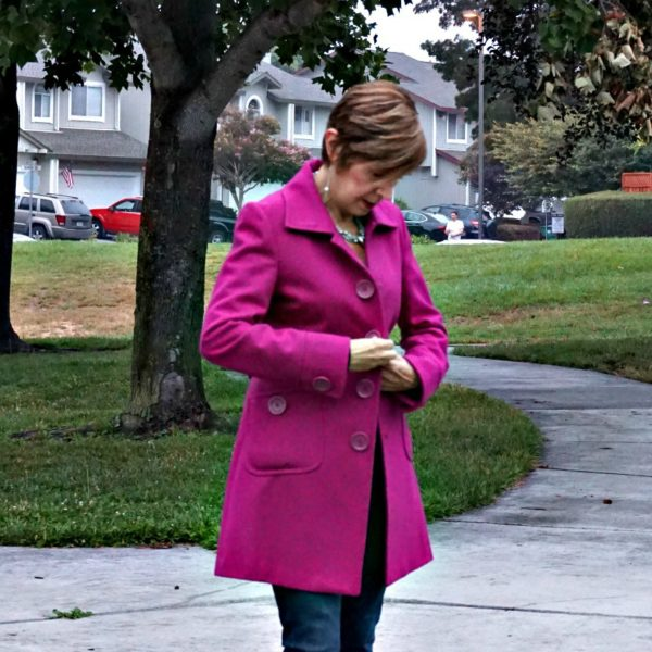 Pink Statement Coat with Big Buttons
