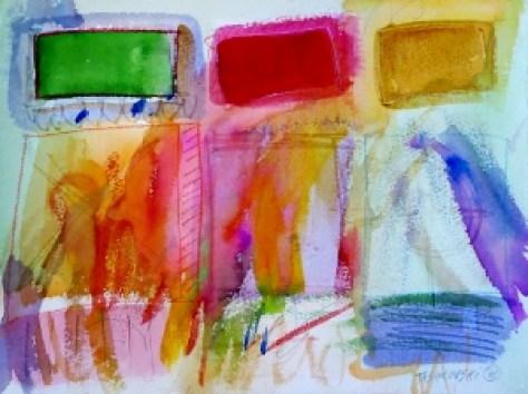 """Box-16, 9"""" x 12"""", 2001, watercolor + colored pencil"""