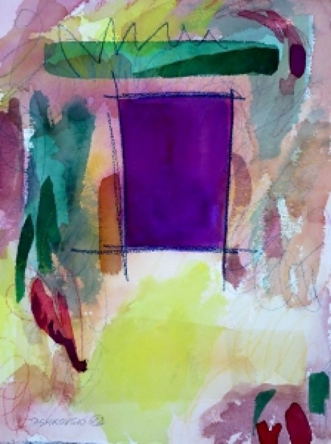 """Doorway, 12"""" x 9"""", 2002, watercolor + colored pencil"""
