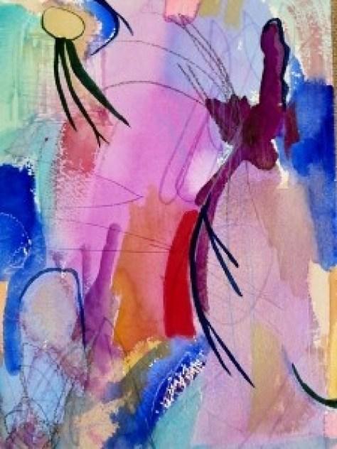 "Lilacs, 10"" x 7"", 2001, watercolor + colored pencil"