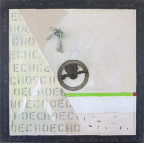 "Echo 8, 18"" x 18"", oil & collage, 2005"