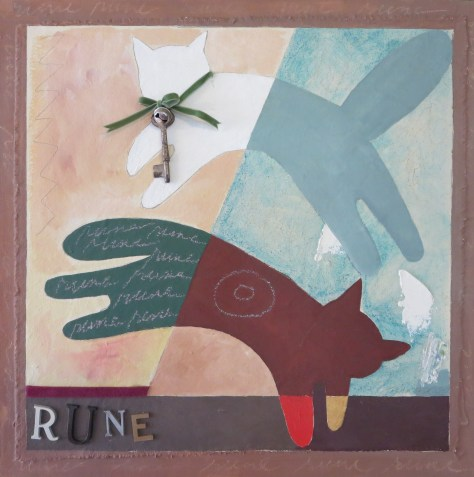 "Rune 11, 18"" x 18"", oil & collage, 2005"