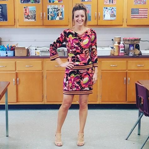 Trina Turk dress, Guess sandals