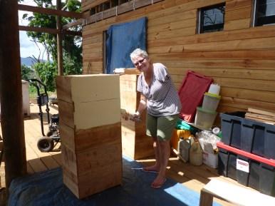 Karen painting boxes