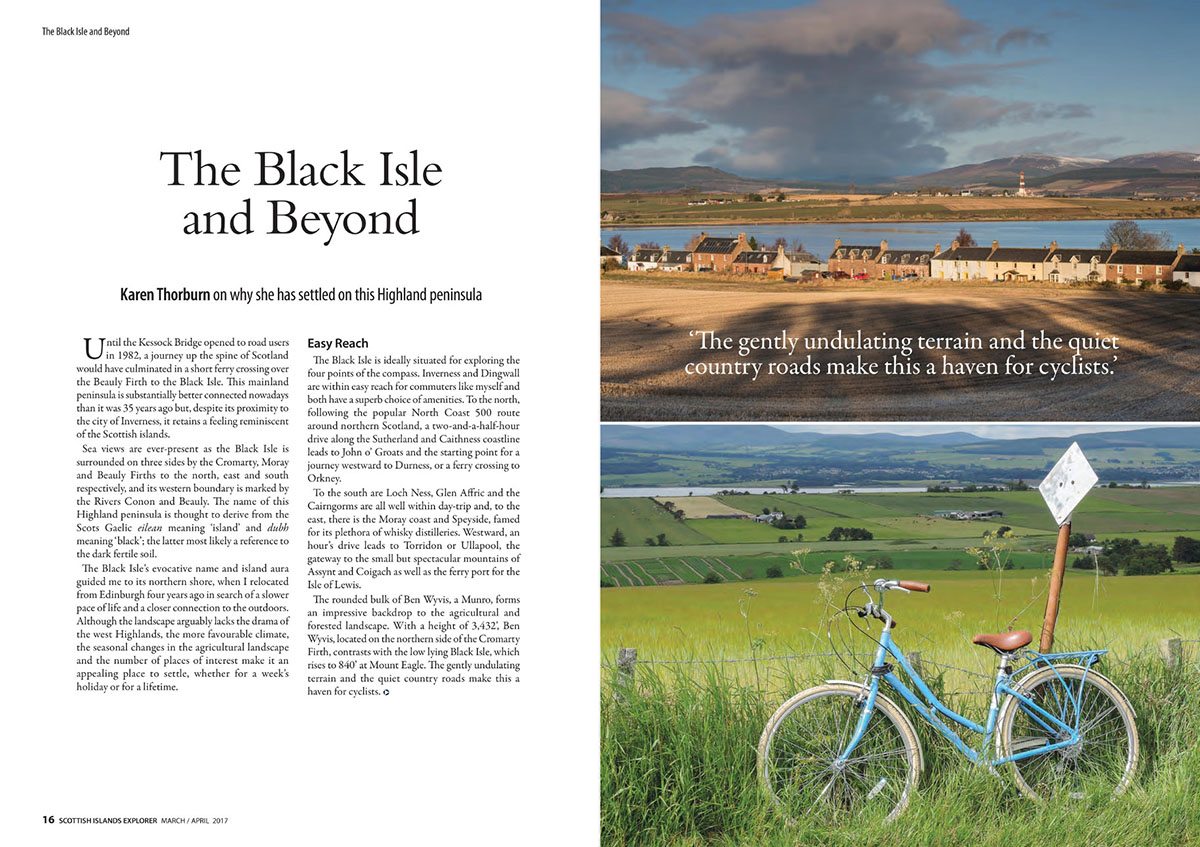 Guest blogger - magazine article with text and photos of cottages between a field and water, and a bike in front of fields